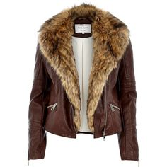 River Island Brown leather-look faux fur jacket (£86) ❤ liked on Polyvore featuring outerwear, jackets, fur, biker jackets, brown, coats / jackets, women, motorcycle jacket, tall motorcycle jacket and brown biker jacket