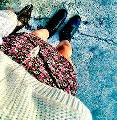 floral & combat boots