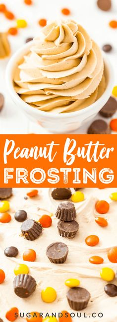 This is the Best Peanut Butter Frosting Recipe you're going to find. It's sweet creamy peanut buttery PERFECTION made with peanut butter butter powdered sugar vanilla and heavy cream! Cake Frosting Recipe, Frosting Recipes, Cupcake Recipes, Cupcake Cakes, Dessert Recipes, Buttercream Frosting, Baking Recipes, Peanut Butter Icing, Best Peanut Butter