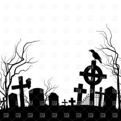 silhouette-of-cemetery-with-raven-sitting-on-the-tombstone-Download-Royalty-free-Vector-File-EPS-71824.jpg 1,200×1,200 pixels