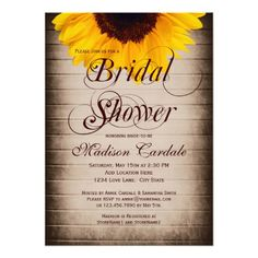 Rustic Country Sunflower Barn Wood Bridal Shower Invitations