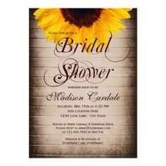 Rustic Country Sunflower Bridal Shower Invitations #bridalshower #wedding #sunflowers