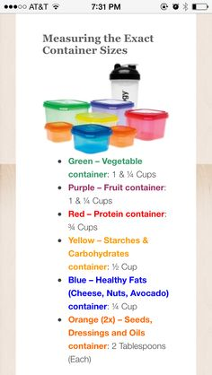 21 day fix container approx. measurements
