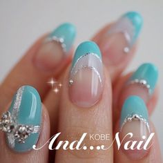 Nail art Christmas - the festive spirit on the nails. Over 70 creative ideas and tutorials - My Nails Turquoise Nail Designs, Gel Nail Designs, Fancy Nails, Pretty Nails, Blue Nails, My Nails, Asian Nails, Japanese Nails, Elegant Nails