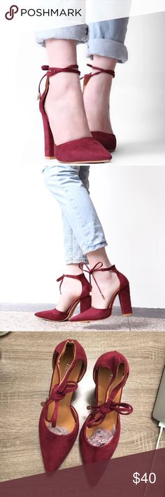 Suede Pointed Thick Lace Up Heels Maroon/m / Burgundy heels, super cute and comfortable. Brand new without tags, comes with original tissue paper for shoe but threw out the box. Similar to Steve Madden, Urban Outfitters, Aldo - no name brand.                                                                • accepting offers • add to bundle for special offer • ask questions • Aldo Shoes Heels