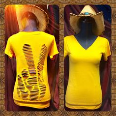Peace hand sign language finger tee, Cut up shredded refashioned upcycled tshirt tee in Mustard yellow cutout open back top - BABY CLOTHES DIY Cut Up Tees, Cut Up T Shirt, Diy Cut Shirts, T Shirt Diy, Diy Clothes Design, Cut Clothes, Shirt Refashion, Diy Clothing, Diy Fashion