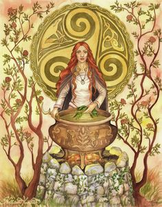 By UnripeHamadryad. Ceridwen is the shapeshifting goddess of knowledge, transformation and rebirth. The Awen, cauldron of poetic inspiration, is one of her main symbols.