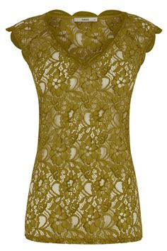 Delicate lace has been worked into a classic V neck t-shirt style this season. With a scalloped neckline and cap sleeves, and loose fit, this would look lovely over a bikini, or worn over a vest top with slim fit trousers.