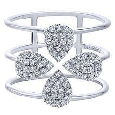 14k White Gold Diamond Fashion Ladies' Ring | Gabriel & Co NY | LR50898W45JJ