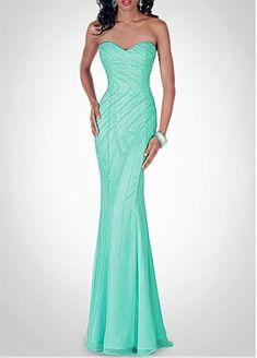 Elegant Chiffon & Poly Satin Sheath Sweetheart  Prom Dress With Manmade Diamonds and Beadings