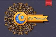 Eid Mubarak Abstract Greeting Card by Lianella's Shop on Creative Market