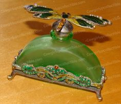 chinese perfume bottles | C24525 - Bejeweled Cloisonne PERFUME BOTTLE and DRAGONFLY Stopper ...