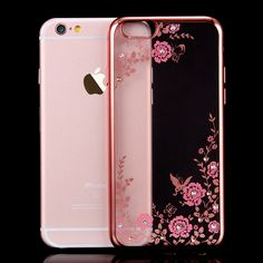 Case for Apple iPhone 5 5s SE 6 6s Plus 6Plus Chic Flowers Painted Rhinestone Bling Soft TPU Plating Luxury Phone Cases Cover