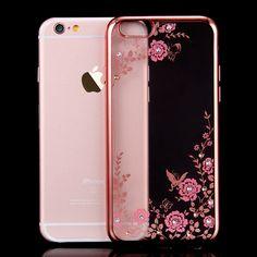 Kisscase voor iphone 6 6s 7 plus bloem case luxe plated frame bling diamond bloemenwijnstok soft tpu cover voor iphone 6 7 6 s Plus
