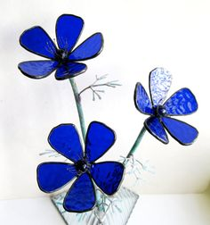 Anemone in cobalt blue stained glass by GlassKissinCreations