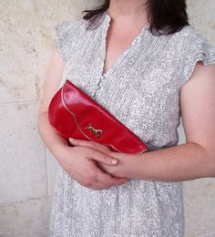 Holidays Sale - Free shipping,, Large red leather clutch with antique gold plated horse and birds inside