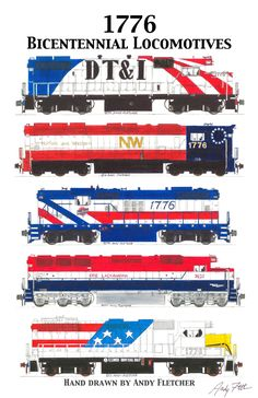 America's railroads dressed their locomotives in red, white and blue to celebrate the Bicentennial.