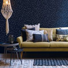 XAGO, coloris Black Iris, 75€ Iris, France, Decoration, Couch, Furniture, Home Decor, Blue Patterns, Hexagons, Wallpaper