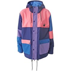 Lazy Oaf Panel Mac Jacket ($205) ❤ liked on Polyvore featuring outerwear, jackets, panel jacket, blue jackets and lazy oaf