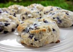 Quick Blueberry Biscuits: 2 1/4 cups Bisquick; 1/3 cup sugar; 1 cup wild blueberries (can use regular); 3/4 - 1 cup buttermilk (I used fat-free); 1/2 cup powdered sugar; 1-2 T milk.