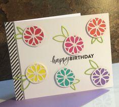 Colorful Die Cut Flower Birthday Card.