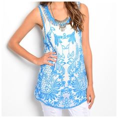 """D3 Sheer Aqua Blue White Embroidery Flower Top Embroidery Top Medium Retail $69 GORGEOUS!!! Sheer fabric with a beautiful shade of blue embroidery! Lots & lots of stretch for a perfect & comfortable fit! 50% cotton, 50% polyester. (Tank top shown under top is not included). Please check my closet for many more listings including jewelry and scarves!!! ‼️ PRICE FIRM UNLESS BUNDLED WITH OTHER ITEMS FROM MY CLOSET ‼️  Measurements are taken with the garment lying flat.  Bust 38""""-42"""" Length…"""