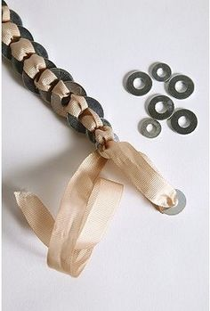 Washer and ribbon necklace/bracelet. Cute!