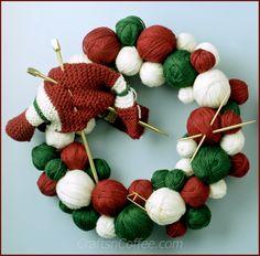 Favorite Christmas Wreath! DIY Yarn Ball Wreath on CraftsnCoffee.com.