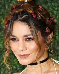 20 Holiday Party Hairstyles to Copy This Season | Braided Crown | Vanessa Hudgens 2016