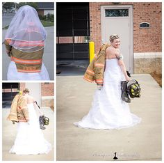 Bride wearing her fire gear at her fire station in Dallas, NC/  www.CamparaPhotography.com