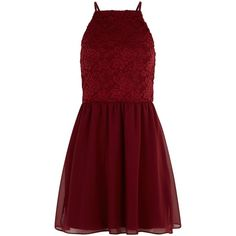New Look Teens Red Lace Skater Dress (143735 PYG) ❤ liked on Polyvore featuring dresses, burgundy, burgundy red dress, red christmas dress, red day dress, christmas dresses and lacy dress