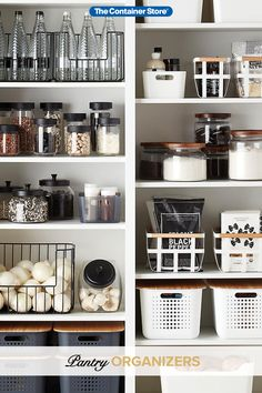 Organize your pantry with pantry organizers from The Container Store! Our pantry organizers come in many designs and sizes to fit any kitchen pantry space. Kitchen Pantry Design, Diy Kitchen, Kitchen Decor, Ikea Kitchen Pantry, Messy Kitchen, Kitchen Drawers, Awesome Kitchen, Kitchen Organization Pantry, Home Organisation