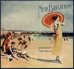 """""""New Brighton, Canterbury's playground"""": Christchurch ad, New Zealand Vintage Beach Posters, Vintage Postcards, Railway Posters, Travel Posters, Art Posters, Christchurch New Zealand, New Brighton, Kiwiana, Vintage Type"""