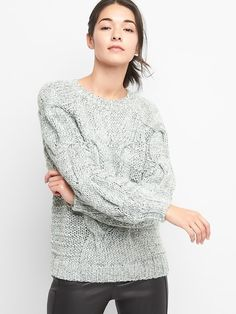 Gap Womens Dolman Sleeve Cable-Knit Sweater Light Blue Marl