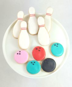 Bowling Cookies - Assorted Colors - Sugar Cookies - 1 Dozen by PSSweet on Etsy