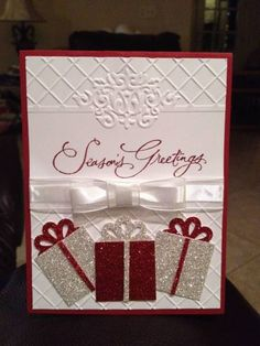 """Seasons Greetings"" Christmas Card...with glittered packages...by kreyna-Cards and Paper Crafts at Splitcoaststampers."