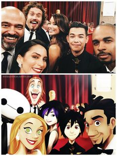 Big Hero 6 gang at the Oscars>>>>Awww!!! This is awesome!!!!!!!