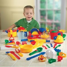 Pretend & Play® Kitchen Set: Little chefs can prepare all of their favorites with this 70 piece set of durable plastic dishes. Set includes colorful pots, pans, cups, bowls, dishes, utensils, and more. For ages 3 and older.