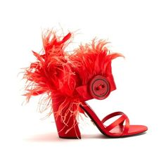 Prada Feather-embellished satin sandals ($990) ❤ liked on Polyvore featuring shoes, sandals, red, block heel sandals, chunky-heel sandals, block heel shoes, red shoes and red sandals