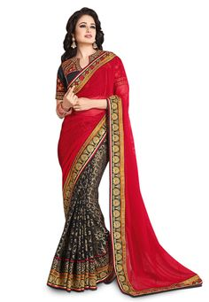 $64: Buy Red and Black Faux Georgette and Brasso Saree with Blouse online, work: Embroidered, color: Black / Red, usage: Party, category: Sarees, fabric: Georgette, price: $91.57, item code: SGA5813, gender: women, brand: Utsav
