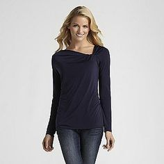 Attention- -Women's Long-Sleeve Knot Top  OOO... I love this. Paired with a pretty dark wash skirt and a really awesome newsboy...