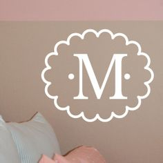 MONOGRAM INITIAL Letter wall decal, scalloped oval frame, bedroom or baby girl nursery, vinyl lettering sticker (W00924). $16.99, via Etsy.