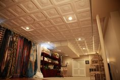 DIY UNFINISHED BASEMENT DECORATING: Ugly Basement Ceiling  is TRANSFORMED.