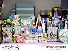Desktop organizer by Donna Espiritu using A Ladies' Diary and May Arts Ribbon #graphic45