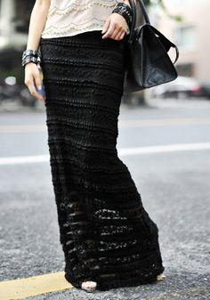 Overlay Maxi Skirt - Black