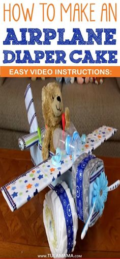 Looking for easy video instructions on how to make an airplane diaper cake? This diaper cake is perfect for girls and boys. Simply change the color of the. Airplane Diaper Cakes, Owl Diaper Cakes, Unique Diaper Cakes, Diy Diaper Cake, Airplane Baby Shower Cake, Shower Party, Baby Shower Parties, Baby Shower Gifts, Baby Showers