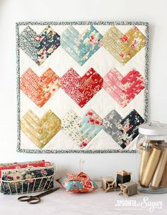 Heart of the Home Mini Quilt made using Tilda Cabbage Roses and Memory Lane fabrics. Small Quilts, Mini Quilts, Baby Quilts, Heart Quilts, Quilting Tips, Quilting Projects, Quilting Designs, Small Quilt Projects, Quilting Templates