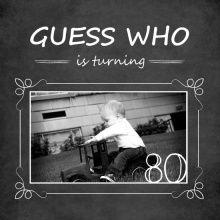 80th Birthday Invitations - Chalkboard Guess Who Simple Photo (Set) 80th Birthday Invitation