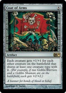 Magic: the Gathering - Coat of Arms - Magic 2010 by Wizards of the Coast. $5.84. This is of Rare rarity.. From the Magic 2010 (M10) set.. A single individual card from the Magic: the Gathering (MTG) trading and collectible card game (TCG/CCG).. Magic: the Gathering is a collectible card game created by Richard Garfield. In Magic, you play the role of a planeswalker who fights other planeswalkers for glory, knowledge, and conquest. Your deck of cards represents all the w...