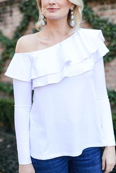 White One Shoulder Ruffle Top   The Style Scribe